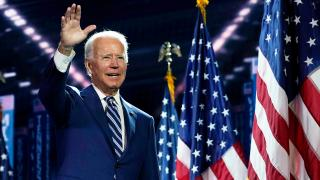 Democratic presidential candidate former Vice President Joe Biden stands on stage after Democratic vice presidential candidate Sen. Kamala Harris, D-Calif., spoke during the third day of the Democratic National Convention, Wednesday, Aug. 19, 2020, at the Chase Center in Wilmington, Del. (AP Photo / Carolyn Kaster)