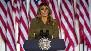 First lady Melania Trump speaks on the second day of the Republican National Convention from the Rose Garden of the White House, Tuesday, Aug. 25, 2020, in Washington. (AP Photo / Evan Vucci)