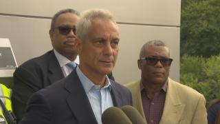 Mayor Rahm Emanuel speaks Tuesday, Aug. 21, 2018 at a ribbon-cutting for a renovated CTA Blue Line station on the city's Near West Side. (Chicago Tonight)
