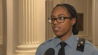 A police recruit speaks with WTTW News about an empathy workshop hosted by Storycatchers Theatre.