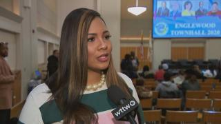 "Ald. Stephanie Coleman, 16th Ward, speaks to Paris Schutz of ""Chicago Tonight"" at a town hall for the Englewood community on Tuesday, Jan. 14, 2020. (WTTW News)"