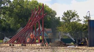 In Englewood, one of the biennial's 15 sites, the community partner is Grow Greater Englewood and they are constructing a new Englewood Village Plaza at 58th St. and Halsted. (WTTW News)