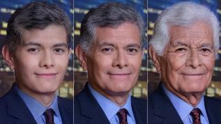 "A photo of ""Chicago Tonight"" host Phil Ponce, center, is edited by FaceApp to illustrate younger and older versions of him."
