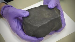 A 4-pound piece of a meteorite that struck Costa Rica earlier this year was handed over to the Field Museum on Oct. 7, 2019. (John Weinstein / Field Museum)