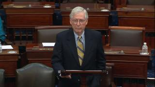 """Senate minority leader Mitch McConnell has said ending the filibuster would bring a """"nuclear winter"""" on the Senate floor. (WTTW News)"""