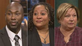 "From left: Reality Allah, Noemi Martinez and Julie Anderson appear on ""Chicago Tonight"" to discuss the WTTW digital series ""Firsthand: Gun Violence."""