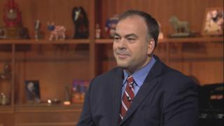 """Fritz Kaegi appears on """"Chicago Tonight"""" on March 6, 2018."""