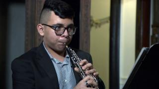 Giovani Ibarra, 14, of Little Village, performs Camille Saint-Saens' Oboe Sonata in D Major on Feb. 1, 2021. (WTTW News)