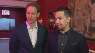 """Hamilton"" creator Lin-Manuel Miranda, left, and exhibition designer David Korins speak with WTTW News at ""Hamilton: The Exhibition."""