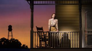 """Monica West (Marian Paroo) in """"The Music Man"""" with music and lyrics by Meredith Willson and a book by Meredith Willson and Franklin Lacey, directed by Mary Zimmerman. (Photo by Liz Lauren)"""