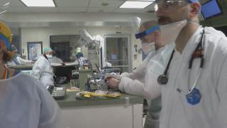An emergency room at a New York hospital deals with coronavirus cases. (WTTW News via CNN)