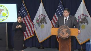 Gov. J.B. Pritzker speaks Wednesday, Nov. 4, 2020 during a press conference. (WTTW News)