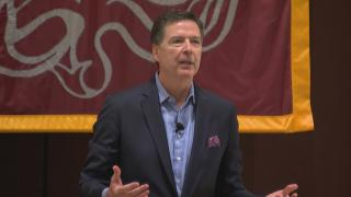 Former FBI Director James Comey speaks at the University of Chicago on Tuesday, Oct. 29, 2019. (WTTW News)