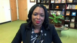 """Chicago Public Schools CEO Janice Jackson appears on """"Chicago Tonight"""" via Zoom on Monday, May 3, 2021. (WTTW News)"""