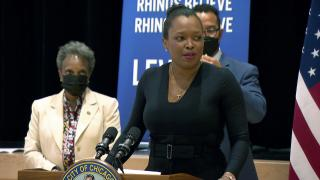 Chicago Public Schools CEO Janice Jackson speaks during a news conference on June 14, 2021. (WTTW News)