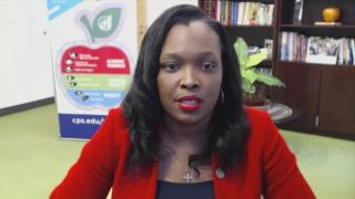"Chicago Public Schools CEO Janice Jackson appears on ""Chicago Tonight"" via Zoom on Tuesday, Oct. 21, 2020. (WTTW News)"