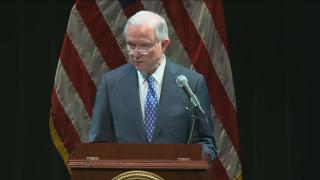 U.S. Attorney General Jeff Sessions speaks at the Genesee Theater in Waukegan on Wednesday, Sept. 19, 2018.