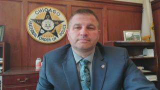 """Fraternal Order of Police Lodge 7 President John Catanzara appears on """"Chicago Tonight"""" via Zoom on Thursday, May 14, 2020. (WTTW News)"""