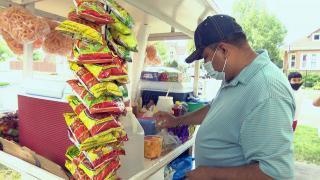 Juan Jose Gama Garcia starts his workday in the Gage Park neighborhood, July 20, 2021. (WTTW News)