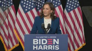 """America is crying out for leadership,"" Sen. Kamala Harris said during her first press conference as Joe Biden's running mate on Wednesday, Aug. 12, 2020. (WTTW News via CNN)"