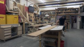 After the pandemic hit that woodworker Keith Skogstrom found himself nearly overwhelmed with orders for custom wooden furniture. (WTTW News)
