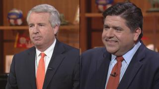 """Candidates for Illinois governor Chris Kennedy, left, and J.B. Pritzker appear on """"Chicago Tonight"""" on June 22 and June 15, respectively."""
