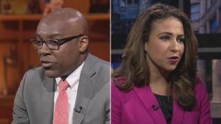 """Candidates for Illinois attorney general Kwame Raoul and Erika Harold participate in a """"Chicago Tonight"""" forum on Oct. 29, 2018."""