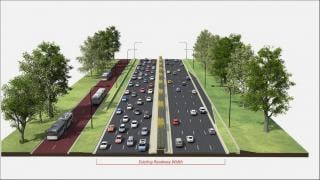 A rendering shows a dedicated bus lane adjacent to Lake Shore Drive.