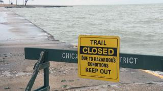 In this file photo, high waves create hazardous conditions along Lake Michigan. (WTTW News)
