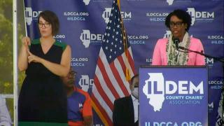U.S. Rep. Lauren Underwood speaks at Governor's Day at the Illinois State Fair on Wednesday, Aug. 18, 2021. (WTTW News)