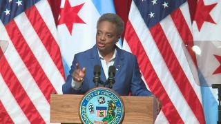 "Chicago Mayor Lori Lightfoot delivers her first ""State of the City"" address on Thursday, Aug. 29, 2019. (WTTW News)"