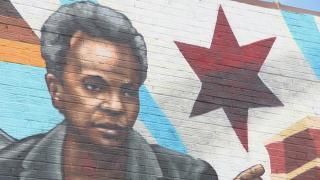 Mayor Lori Lightfoot is featured in a mural created by Chicago artist Rahmaan Statik. (WTTW News)