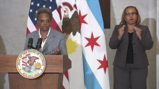 Mayor Lori Lightfoot speaks at a press conference after a Kentucky grand jury released its findings on the police shooting of Breonna Taylor on Wednesday, Sept. 23, 2020. (WTTW News)