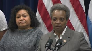 Mayor Lori Lightfoot speaks to the media after a City Council meeting on Wednesday, Jan. 15, 2020. (WTTW News)