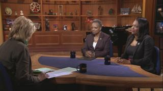 "Mayor Lori Lightfoot, center, and Chicago Public Schools CEO Janice Jackson, right, appear on ""Chicago Tonight."" (WTTW News)"
