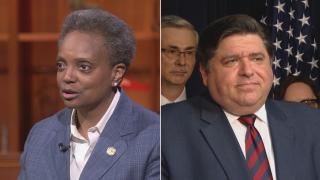 File photos of Chicago Mayor Lori Lightfoot and Illinois Gov. J.B. Pritzker. (WTTW News)