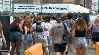 Music fans line up to enter Lollapalooza on the first day of the festival, which returned to Grant Park from July 29 through Aug. 1, 2021. (WTTW News)