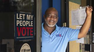In this photo provided by the John D. and Catherine T. MacArthur Foundation, Desmond Meade poses for a portrait Monday, Sept. 13, 2021 at the Florida Rights Restoration Coalition's headquarters in Orlando, Fla. (John D. and Catherine T. MacArthur Foundation via AP)