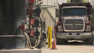 A truck on the site of Mat Asphalt in McKinley Park on Wednesday, May 13, 2020. (WTTW News)