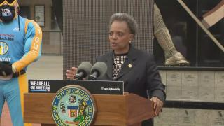 Mayor Lori Lightfoot speaks at a news conference outside Guaranteed Rate Field in Chicago on Tuesday, July 21, 2020. (WTTW News)