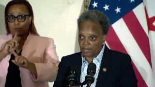 Mayor Lori Lightfoot talks about the murder of Ella French at an unrelated news conference on Wednesday, Aug. 11, 2021. (WTTW News)