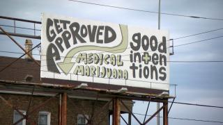 A billboard promotes medical marijuana in Chicago. (WTTW News)