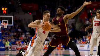 The Loyola Ramblers take on the Florida Gators on Wednesday, Dec. 6, 2017 in Gainesville, Florida. (Photo by Matt Pendleton for Matt Pendleton Photography)