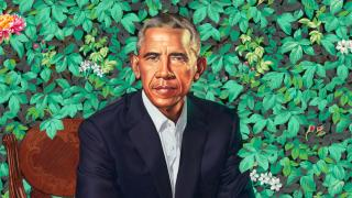 """Kehinde Wiley.""""Barack Obama,"""" 2018. Oil on canvas. National Portrait Gallery, Smithsonian Institution."""