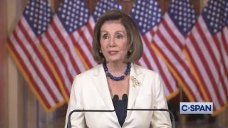 An image from video of Speaker of the House Nancy Pelosi. (WTTW NEWS via C-SPAN)
