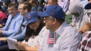 Chicago welcomes 175 new U.S. citizens at a naturalization ceremony at Wrigley Field on July 2, 2021. (WTTW News)
