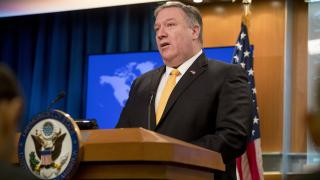 Secretary of State Mike Pompeo speaks at a news conference at the State Department in Washington, Friday, Feb. 1, 2019. Pompeo announced that the U.S. is pulling out of a treaty with Russia that's been a centerpiece of arms control since the Cold War. (AP Photo / Andrew Harnik)
