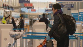 A passenger at O'Hare International Airport on Wednesday, April 29, 2020. (WTTW News)