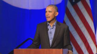 Former President Barack Obama speaks Tuesday during a climate change summit in Chicago. (Chicago Tonight)