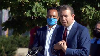 Pedro Martinez speaks Wednesday, Sept. 15, 2021 outside his alma mater, Benito Juarez High School in Pilsen. (WTTW News)